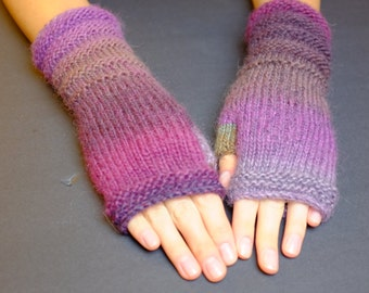 Knitted Fingerless Gloves (Wrist Warmers, Fingerless Mittens, Fingerless Mitts) - Multicolor With Violet