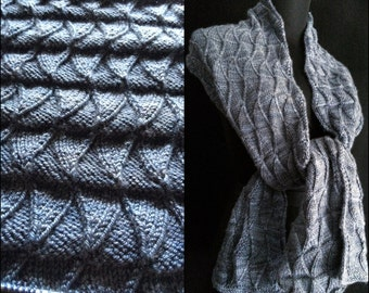 Ride the Rising Tides - Hand Knitting Pattern PDF - Scarf Wrap Cowl Reversible Texture