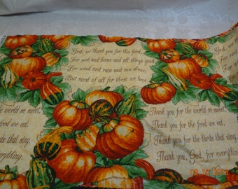 Thanksgiving,  Prayer & Grace Sayings  Fall Harvest Themed Fabric