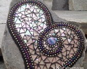 Pale Pink Heart, Mosaic Rock, Gardener Gift, Home Decor, Mosaic Garden Stone