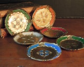 Set of Six Vintage Italian Florentine Resin Coasters / Italian Barware
