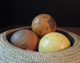 Three Vintage Weathered Croquet Balls / Yellow / Black / Red / Home Decor