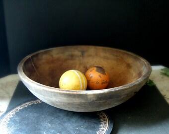 Vintage / Antique Wood Bread Bowl / Primitive Large Wooden Bowl / Antique Dough Bowl / Hand Turned