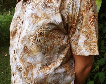 Mens Shirt, Birthday Gift, Mens Cotton Shirt, Brown Batik, Boyfriend Gift Shirt, Batik