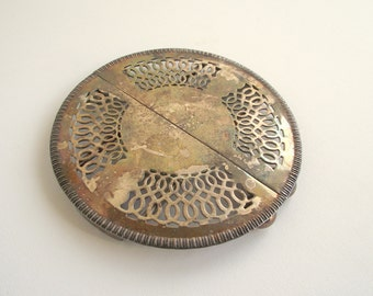 Expandable Silver Trivet / Silver Hot Plate / Tarnish Silver Open Work / Vintage Table Decor / Cottage Chic / TBB Made In England E P N S