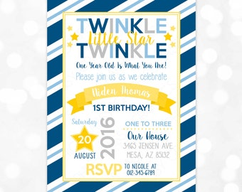 Boy Birthday Invitation – Twinkle Twinkle Little Star Birthday Invite Navy Blue Yellow Gray Printable Digital Download Invite (Item #4)