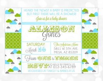 boy baby shower invitation baby boy blue green gray quatrefoil