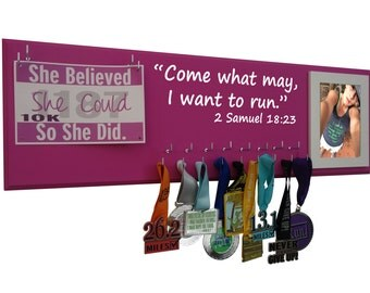 Medals display - medals display and race bibs display : display for medals and bibs for runner, Come what may I want to run.