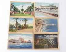 Vintage Galveston, Texas Color Postcards 1920's-30's (Set of 6)