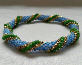 Blue and Green Textured Spiral Seed Bead Bangle - Ready to Ship