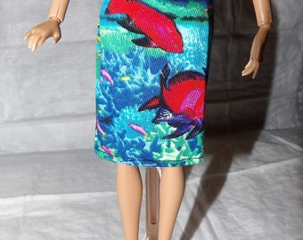 Fashion Doll Coordinates - Colorful ocean fish print skirt - es376