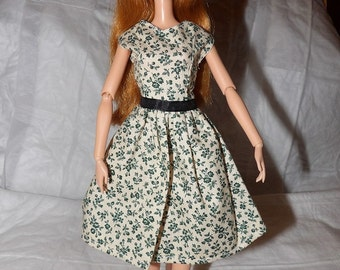 Modets dress in a Navy blue floral print for Fashion Dolls - ed829