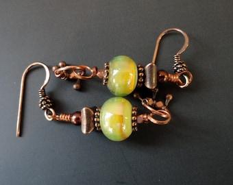 Boho Earrings, Lampwork Glass Bead Earrings, Copper Earrings, Long Dangle Earrings, Yellow Bead Earrings