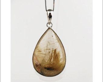 EP010302) Gold Rutilated Quartz Pendant, 925 Silver, Pear Shape