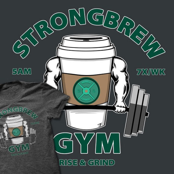 Mens Unisex T Shirt Strongbrew Gym Free