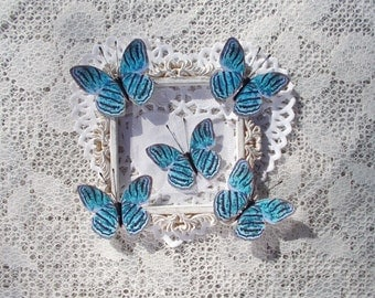 Mini Wings Set of 5, Butterflies, Turquoise Tigers, Scrapbooking, Card Making, Wedding, Tags, Mixed Media,  Glitter Glass