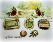 Graphic 45 12 Days of Christmas Handmade Paper Embellishments for Scrapbook Layouts, Cards, Mini Albums, Tags, Gift Decoration / Wrapping