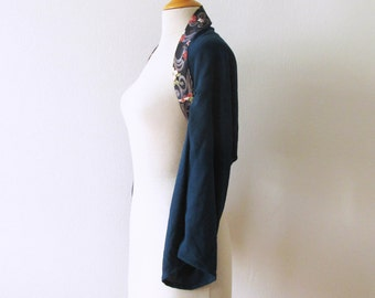 Petrol Blue japanese kimono shrug, cherry blossom on blue  XS/S size