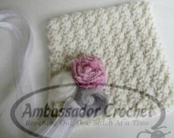Abbey Rose Bonnet Crochet Pattern PDF 150