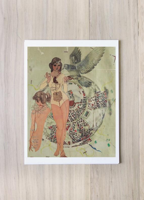 Digital Print: Origins/Progression - mixed media nature pigeon bird hope woman anatomical drawing collage assembliage hopeful dark