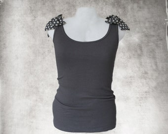 Black tank top/Adjustable shoulder bows/Sleeveless women tee