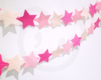 Pink Star Garland - made with wool blend felt in pink colours, perfect for nursery, girls bedroom or celebrations