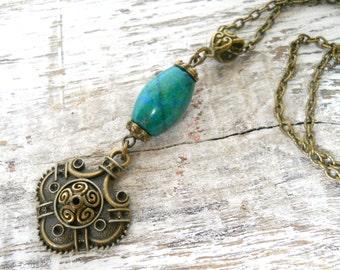 bohemian pendant necklace chrysocolla necklace bronze boho jewelry gypsy necklace bohemian necklace gemstone necklace  M