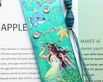 Tasseled Bookmark - Handmade Bookmarks - Mermaid Bookmark - Painted Bookmark - Book Lovers Gift - Stocking Stuffers, Gift Ideas for Readers