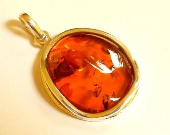 "Baltic Amber Pendant Honey Sparkling 2"" 12.1 gram 925 Silver"