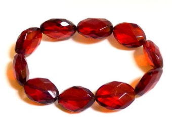 Baltic Amber Cherry Faceted Bracelet Olive Beads Natural 12.1 gram