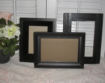 Three Shabby Chic Black Picture Frames