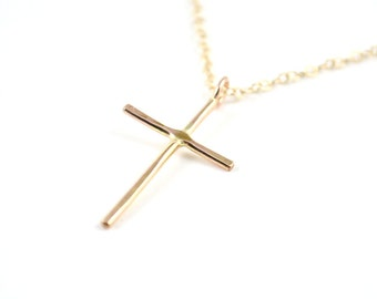 Gold filled cross necklace -  dainty gold cross necklace -  cross jewelry -  skinny cross pendant