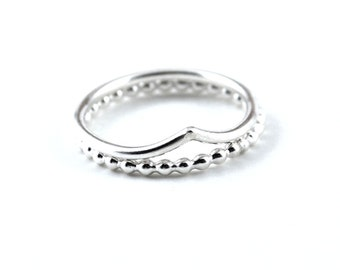 Chevron stacking ring set -  skinny beaded ring set -  silver stacking ring set