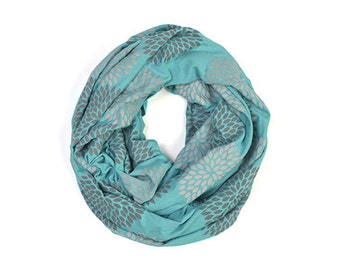 INFINITY SCARF - Screen Printed - Gray Flowers on Teal