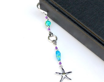 Starfish Charm Bookmark- Nautical Rope Bookmark, Beach Bookmark, Book Lover Gift, Bookworm Gift, Sailing Gift, Blue & Green Beads, Book Club