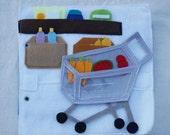 Supermarket- Quiet Book Page / Personalized Quiet Book / Felt Activity Book / Birthday Gift / Toddler Quiet Book / Fine Motor Skills /