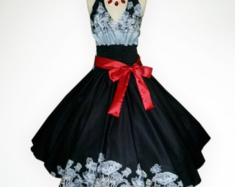Retro Black Vintage Flower 50s Pin up Rockabilly Swing Dress Full Swing Skirt