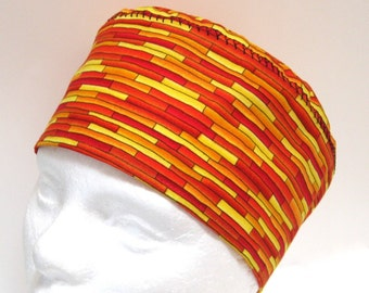 Mens Surgical Scrub Hat or Chemo Hat in Orange and Yellow