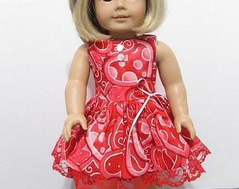 American Girl or 18 Inch Doll Clothes / 2pc.Valentine Sweet Heart Sleeveless Party Dress with Coordinating Hair Bow