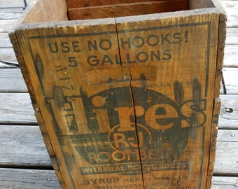 SALE! Hires Rootbeer Syrup Wooden Box Crate