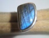 Vintage Laboridite Ring, Genuine Stone RIng, Size 7 circa 1990's