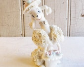 Vintage Glass Poodle with Spaghetti Trim - Anthropomorphic Figurine - Mid-Century 1950s - With a Hat and Basket