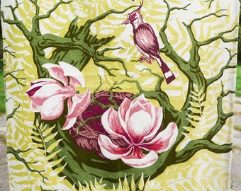 Vintage Barkcloth Drapery Panel, Birds, Lotus Blossoms - Mid-Century 1950s - Chartreuse, Pink, Green and Maroon