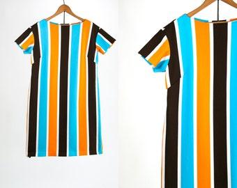 Vintage 1960's Mod Striped Brown Blue Yellow and White Short Sleeved Mini Dress Go Go Dancer Retro Women's Medium Shift Dress Vtg Vg