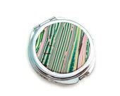 Mirror, Green & Pink Compact Mirror, Compact Mirror