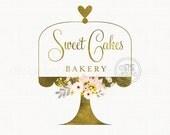 cake stand logo premade logo design bakery logo design bakers logo design flower logo bespoke logo design branding logo watermark logo