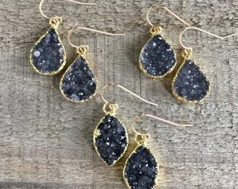 Black Druzy Earrings, Drusy Earrings, YOU CHOOSE, Geode Earrings, Quartz Drops, Gold Earrings