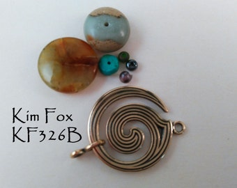 Large Spiral Clasp - One and a half by One Inch Two Sided Clasp/Pendant in Golden Bronze Designed by Kim Fox