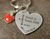 SALE Teacher Gift Heart Key Chain with Apple Charm 2 Teach is 2 Touch Lives 4 Ever