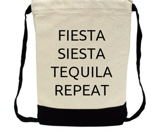 Canvas Backpack - Personalized Backpack - Bachelorette Party - Destination Wedding Favor -Fiesta Siesta Tequila Repeat